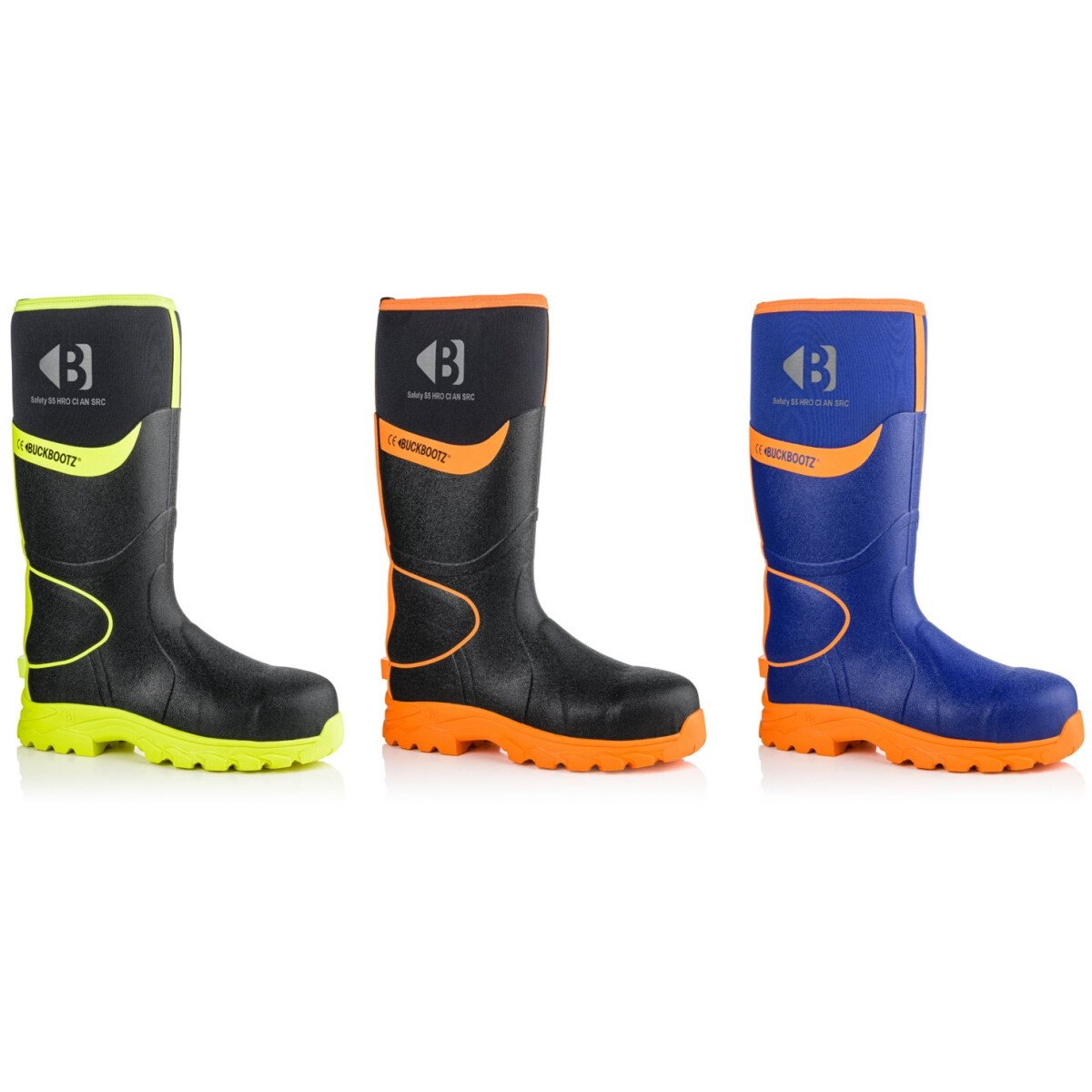 Buckbootz BBZ8000 360 High Visibility Safety Wellington Boot with Ankle Protection (HRO CI HI AN SRC S5) Buck Boots