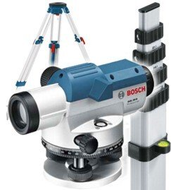 Bosch GOL26+BT160+GR500 Optical Level with 26x Magnification With Leveling Rod and Tripod