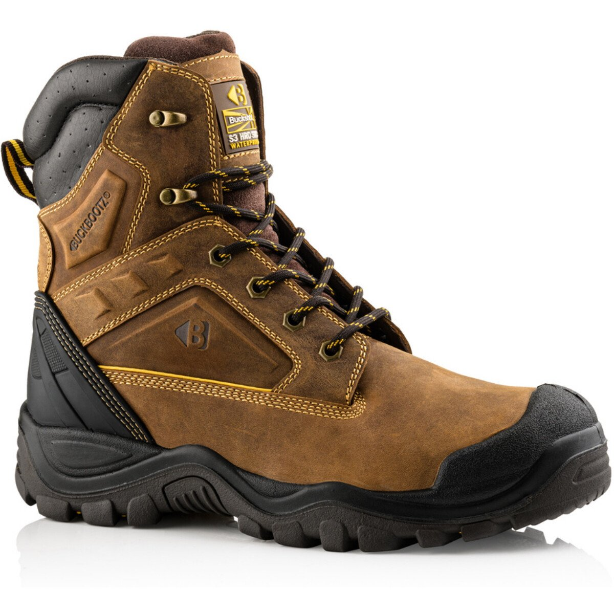 Buckbootz BSH011BR  High-Leg Safety Lace Brown Leather Boot  S3 HRO WRU SRC