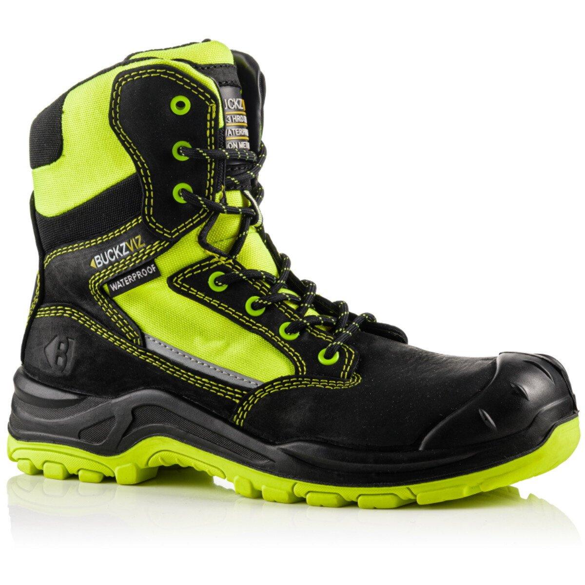Buckbootz BVIZ1 Buckz Viz Black or Brown Leather/Hi-Viz Cordura S3 Non Metallic Lace/Zipper Safety Boot