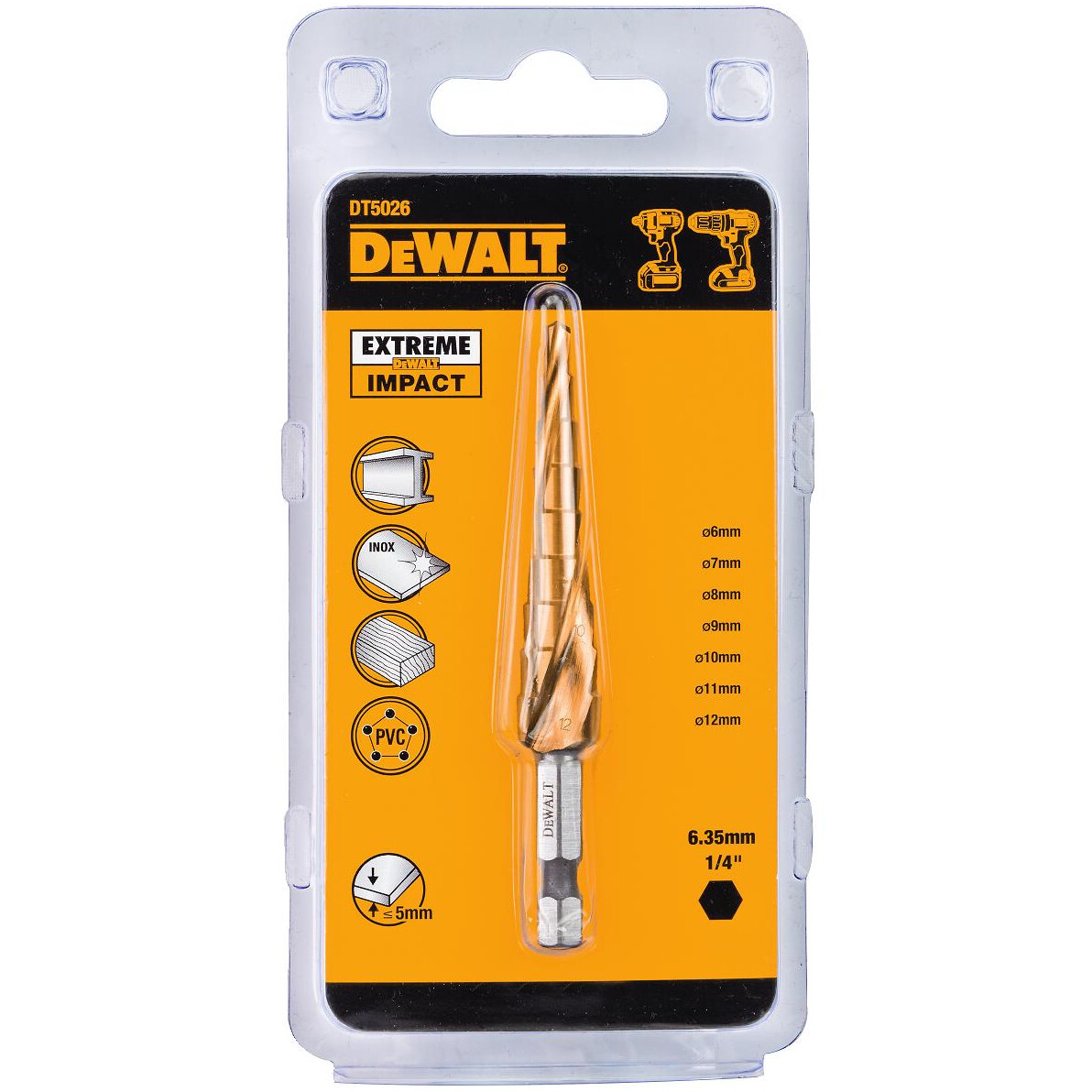 DeWalt DT5026-QZ  Impact Rated Step Bit 4-12mm