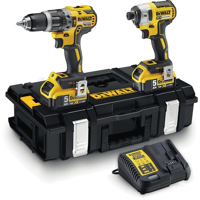 DeWalt DCK266P2-GB Combi Drill and Impact Driver XR 18V Brushless Kit with 2 x 5.0Ah Batteries in TOUGHSYSTEM Case