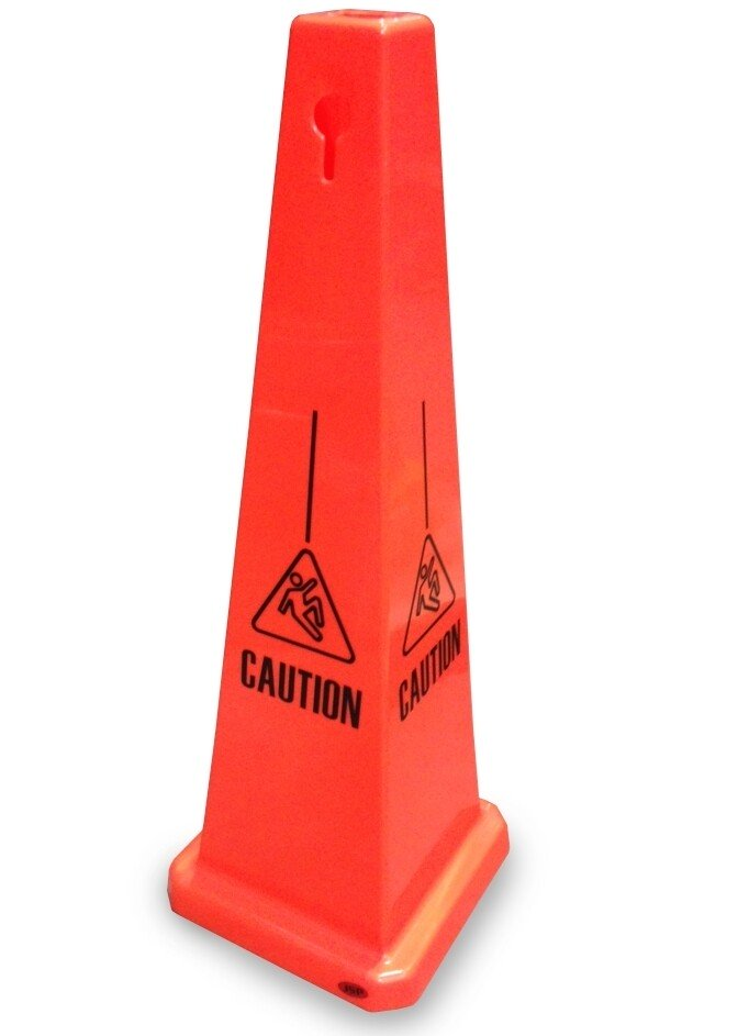 """JSP CLOFF1200 Orange 35"""" Hazard Warning Safety Cone 'Caution' Keyhole Type"""