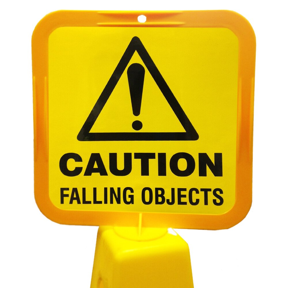 JSP Lamba CLOFF1239 'Caution Falling Objects' Safety Message Label 21cm For Lock-In Sign Holder