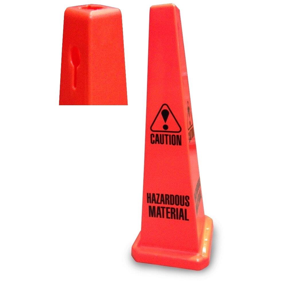 "JSP CLOFF Orange 35"" Safety Cone 'Caution Hazardous Materials' Keyhole Type"