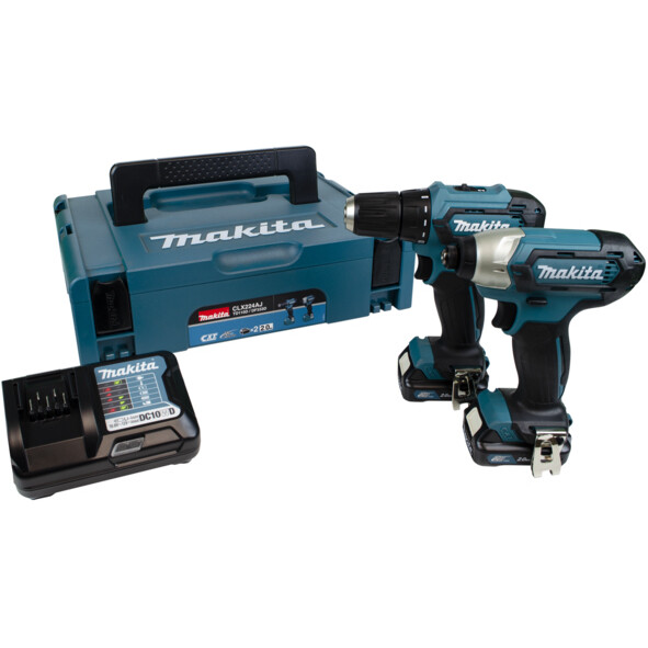 Makita CLX224AJ 12Vmax 2pc Combo Kit with TD110DZ Impact Driver, DF333DZ Drill Driver, 2 Li-ion Batteries, Charger & Carry Case