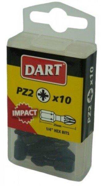 "Dart DDIPZ2-10 1/4"" Hex IMPACT QUALITY Screwdriver Bit,  PZ2 Pozidrive x 25mm Long  (Pack of 10)"