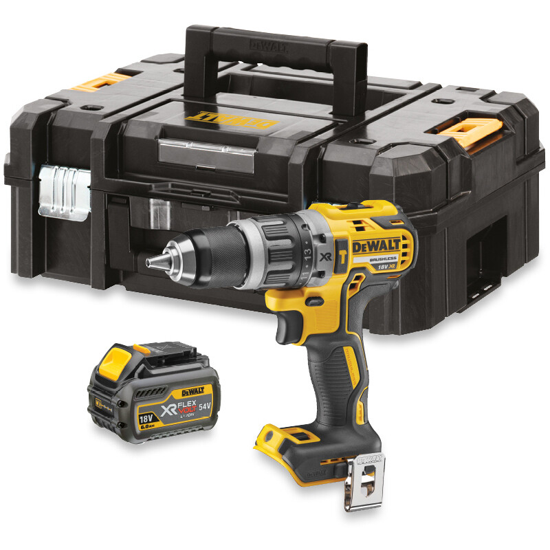 DeWalt DCD796T1T 54Volt/18V FLEXVOLT XR Brushless Combi Drill with 6AH Battery and  Fast Charger in TSTAK Case