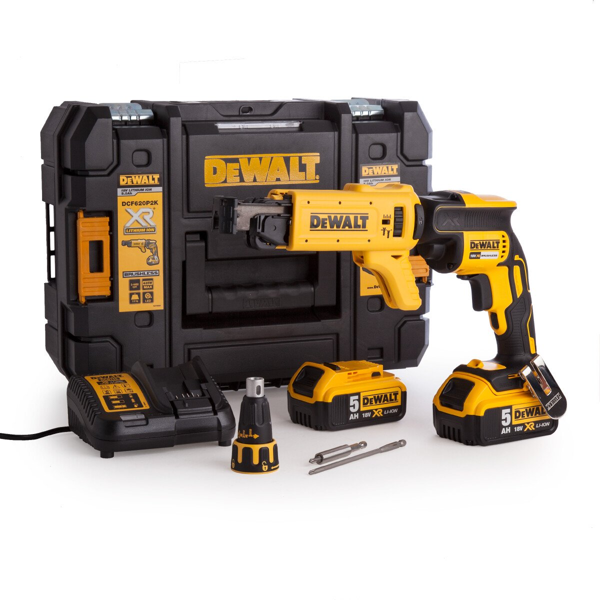 Dewalt DCF620P2K-GB Collated Drywall Screwdriver 18V Cordless Brushless with 2 x 5.0Ah Batteries in TSTAK Kit Box