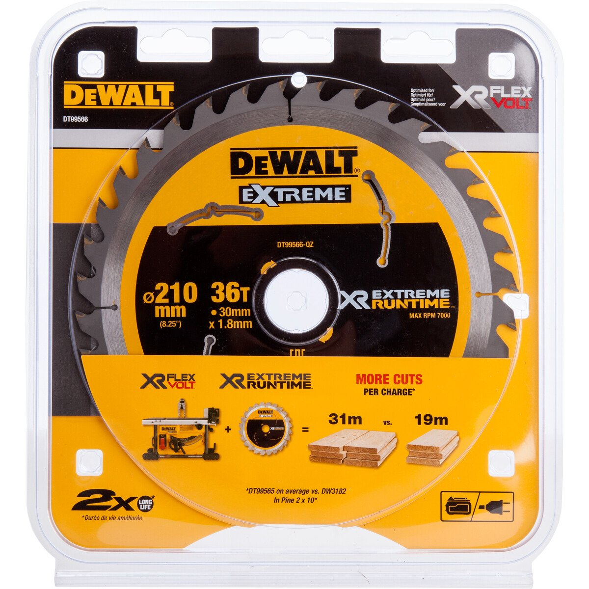 DeWalt DT99566-QZ XR Extreme Runtime Table Saw Blade 210mm x 30mm x 36T