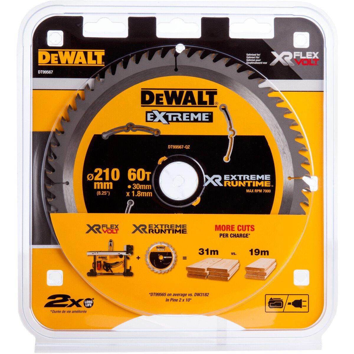 DeWalt DT99567-QZ XR Extreme Runtime Circular Saw Blade 210mm x 30mm x 60T