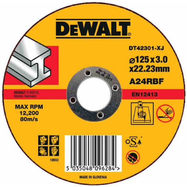 DeWalt DT42301-XJ T1 Metal Cutting Abrasive Disc 125mm x 3mm x 22.2mm