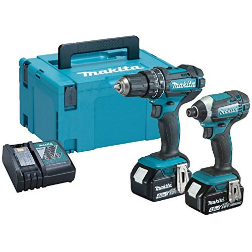 Makita DLX2131TJ 18V Combi Twin Kit Combi Drill + Impact Driver with 2x 5.0Ah Batteries in MakPac Stacking Case