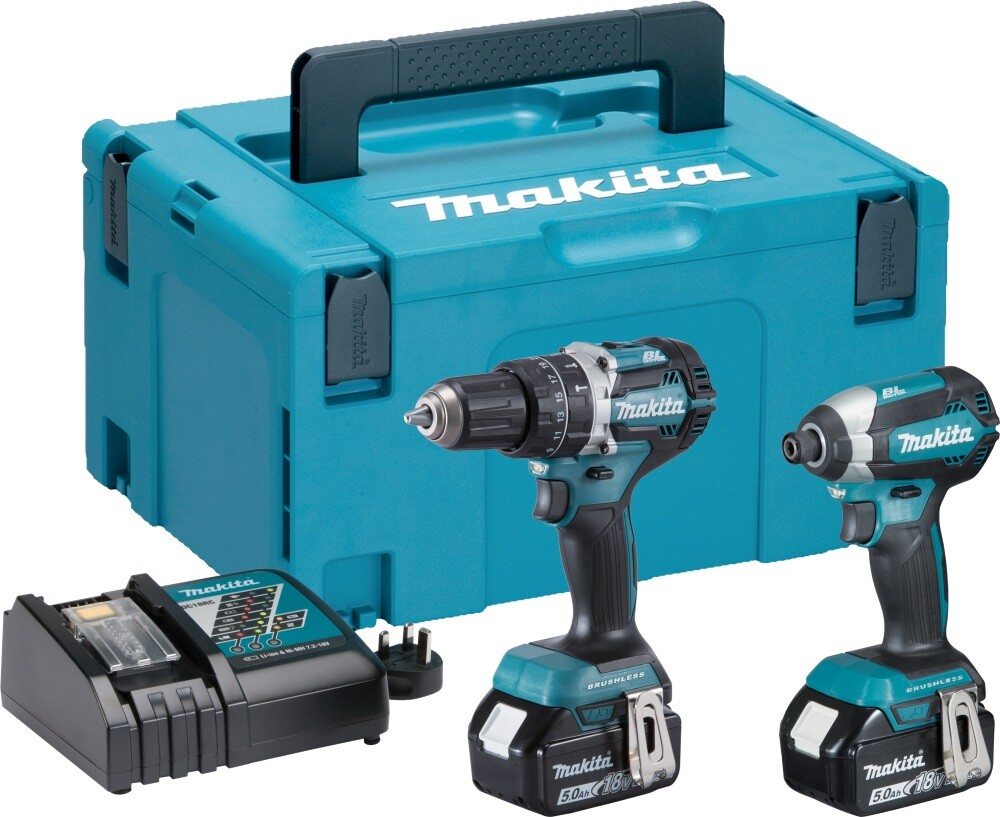 Makita DLX2180TJ 18V Brushless Twinkit Combi Drill + Impact Driver with 2x 5.0Ah Batteries in MakPac Stacking Case