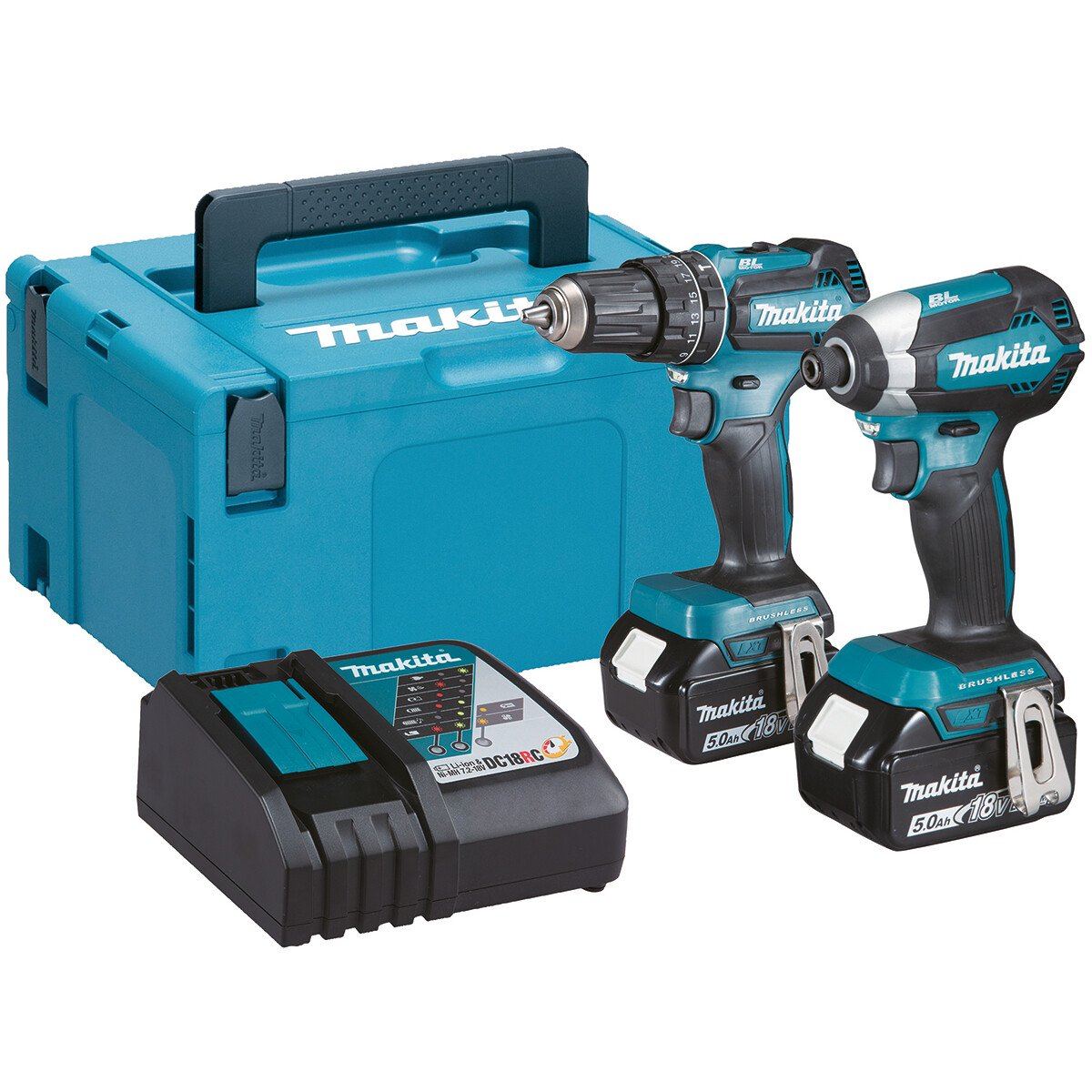 Makita DLX2283TJ 18v Brushless TwinKit Combi Drill + Impact Driver with 2x5Ah Batteries