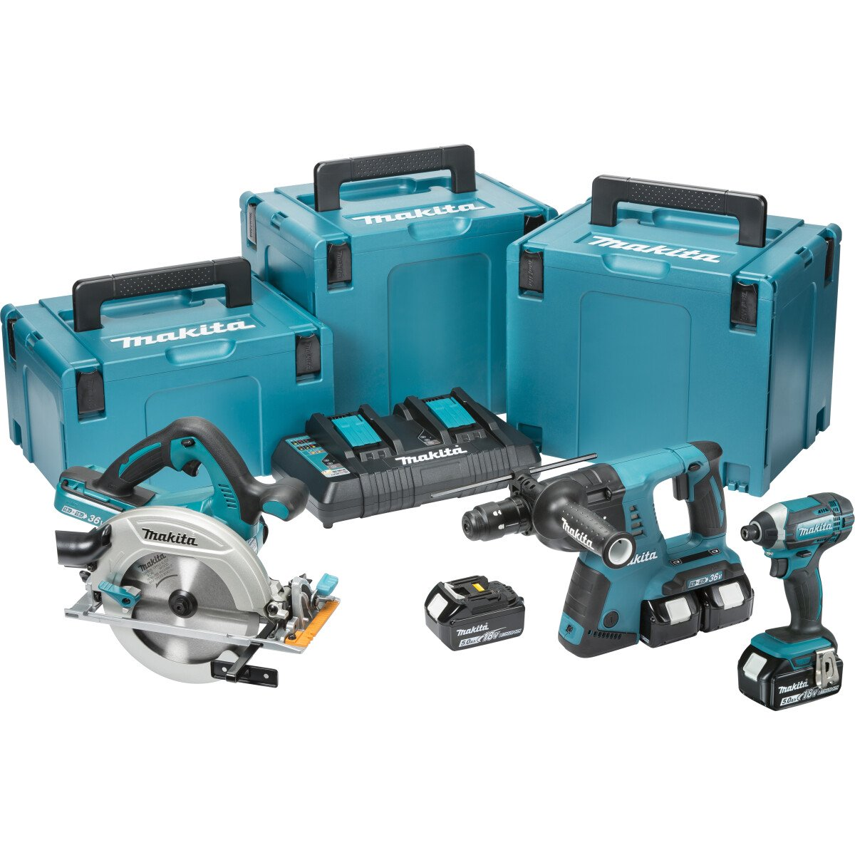 Makita DLX3049PTJ Twin 18V 3 Piece Kit SDS Hammer + Circular Saw + Impact Driver with 4x 5.0Ah Batteries in 3x MakPac Stacking Cases