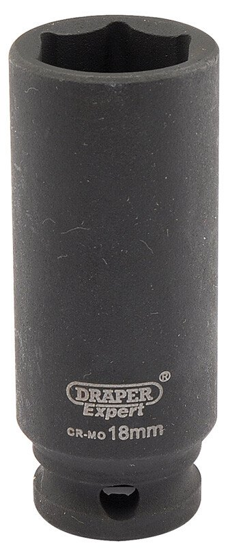 "Draper 06891 409D-MMC Expert 18mm 3/8"" Square Drive Hi Torq 6 Point Deep Impact Socket"