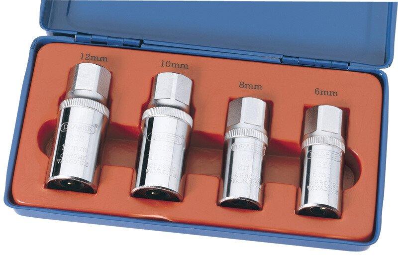 "Draper 55641 SES 1/2"" Square Drive 4 Piece Stud Extractor Set"