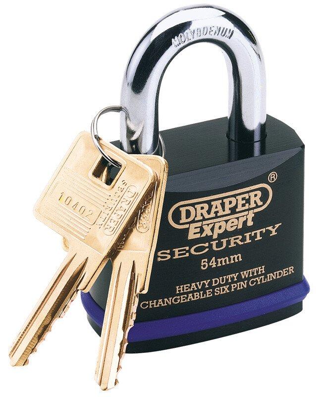 Draper 64192 8311/46 Expert 46mm Heavy Duty Padlock And 2 Keys With Super Tough Molyb...