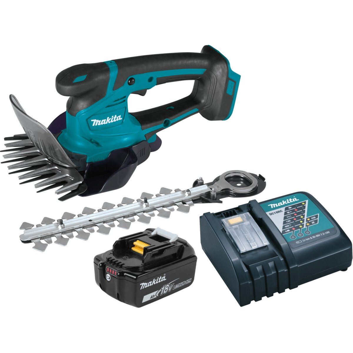 Makita DUM604RTX 18V Grass Shears + Hedge Trimmer Attachment with 1 x 5.0Ah Battery & Charger
