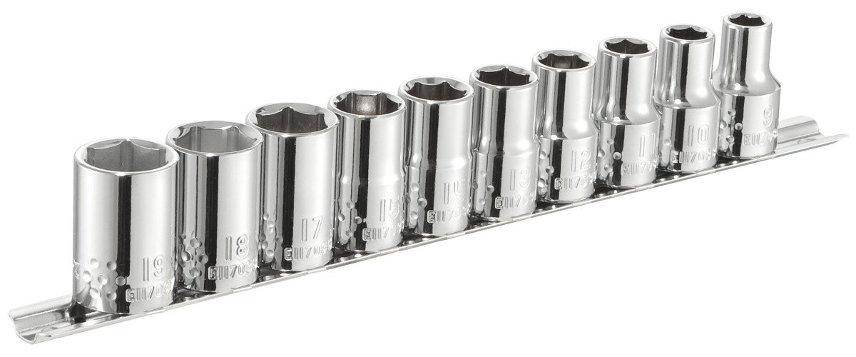 """Expert By Facom E034837 1/2"""" Drive 10 Piece Metric Set of Sockets 9 - 19mm on Rail"""