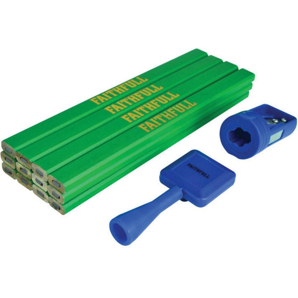 Faithfull FAICPGKIT Carpenter's Pencil Kit Green / Hard (Pack 12)