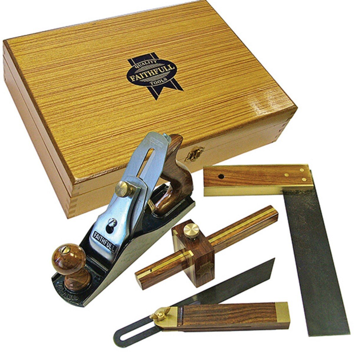 Faithfull FAIPLANEKIT Plane & Woodworking Set 4 Piece