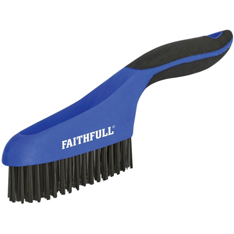 Faithfull FAISB164S Scratch Brush Soft Grip 4 x 16 Row Steel