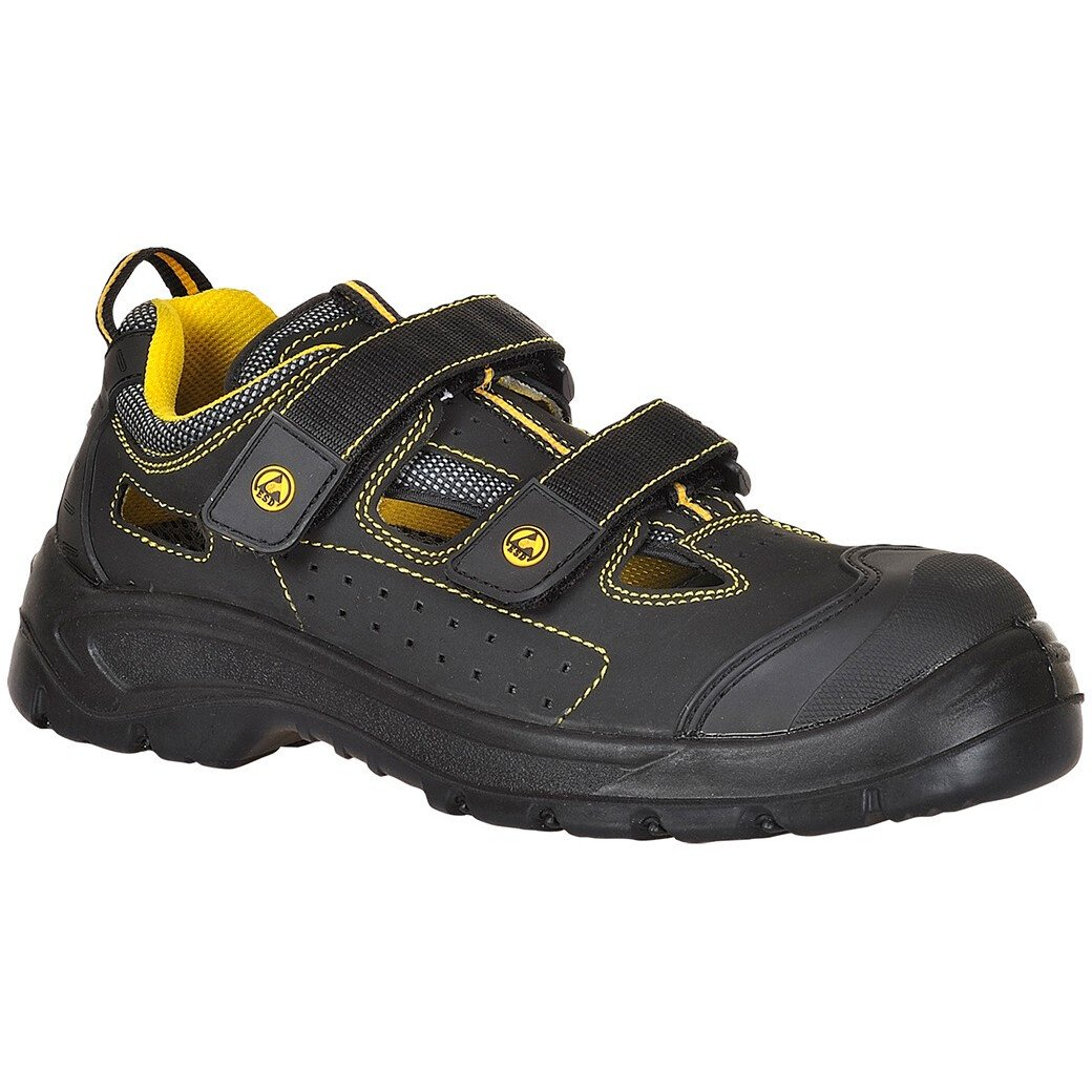 Portwest FC04 Portwest Compositelite ESD Tagus Sandal S1P - Black/Yellow