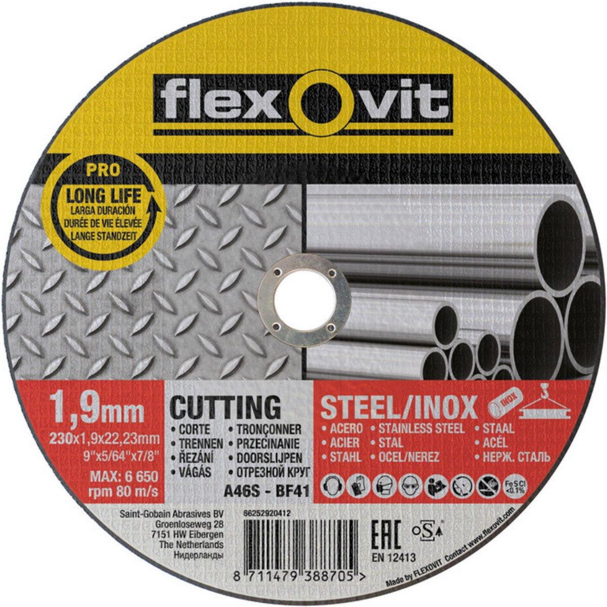 Flexovit 66252920412 A 46 S-BF41 Pro Inox Flat Metal Cutting Disc 230 x 1.9 x 22.2mm (Each)