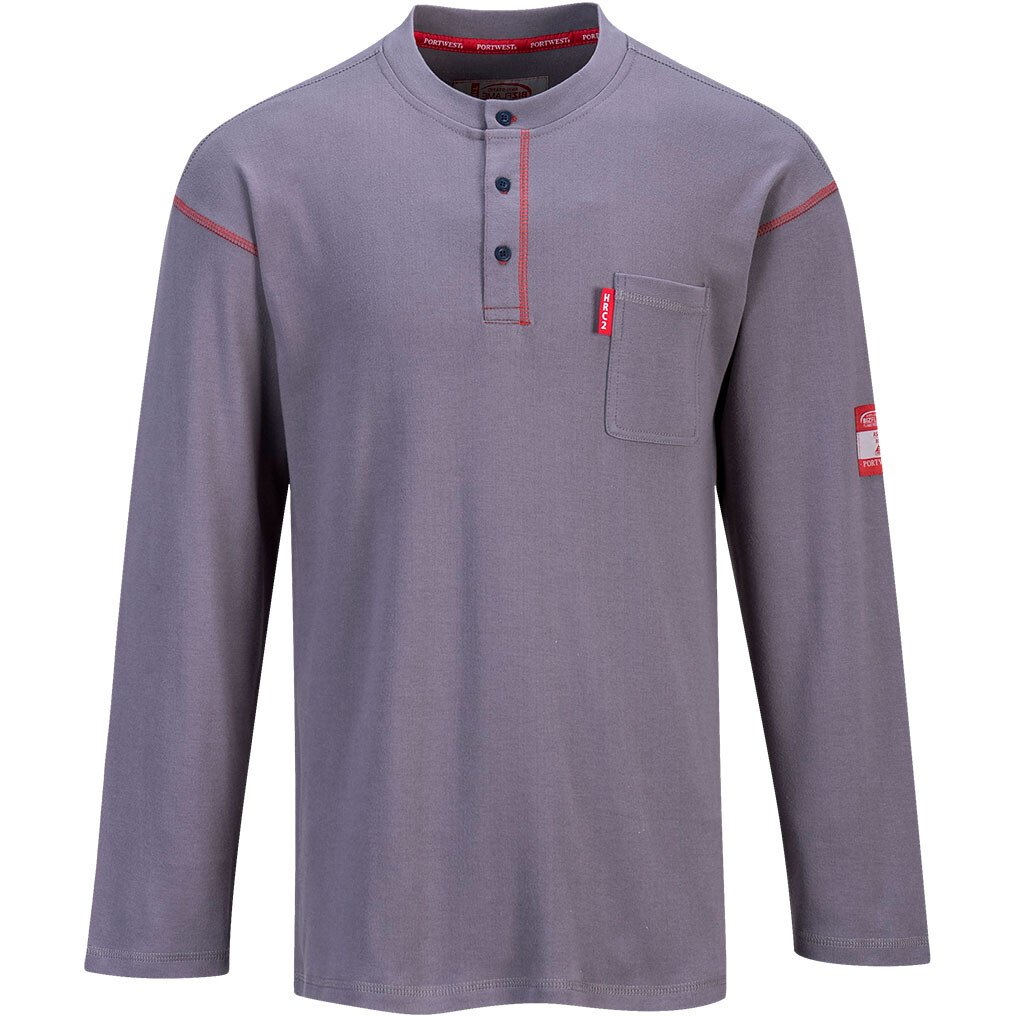 Portwest FR02 Flame Resistant Bizflame FR Henley Crew Neck - Available in Grey or Navy Blue