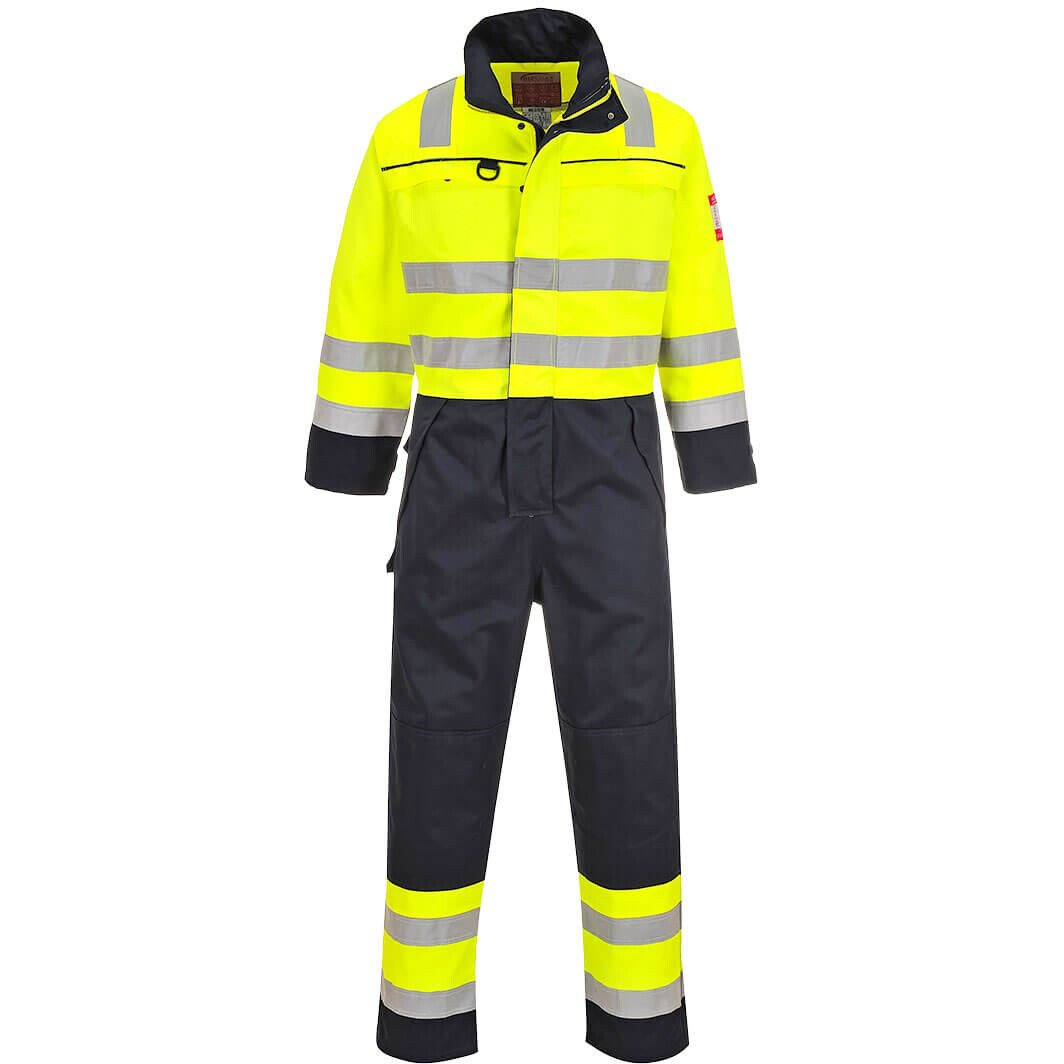 Portwest FR60 FR Hi-Vis Multi-Norm Coverall Flame Resistant  - Yellow/Navy