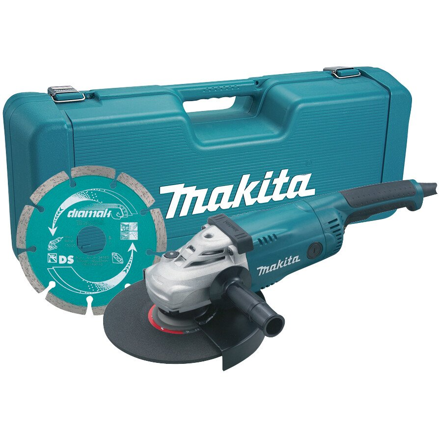 """Makita GA9020KD 9"""" 240V 2000W (230mm) Angle Grinder with 9"""" Diamond Wheel in Moulded Carrycase"""