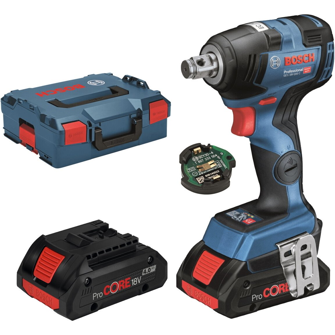 Bosch GDS 18 V-200 C 18V Brushless Impact Wrench 2x4.0Ah Procore with Bluetooth Module  in L-Boxx