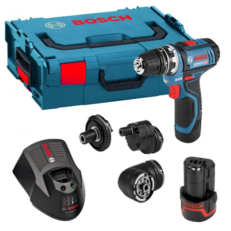 Bosch GSR 12V-15 FC + 6pc Drill Bit Set 12V Flexiclick Drill/Driver with Accessory Set and 2x 2.0Ah Batteries in L-Boxx