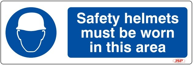 "JSP HBJ081-000-000 Rigid Plastic ""Safety Helmets Must Be Worn In This Area"" Safety Sign 600x200mm"