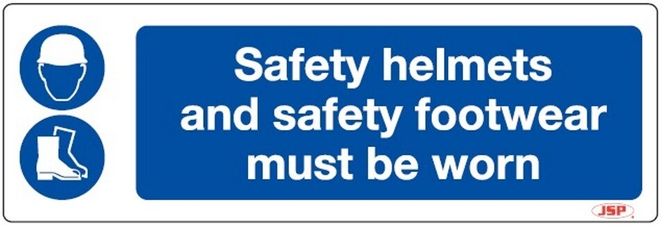 "JSP HBJ091-000-000 Rigid Plastic ""Safety Helmets and Safety Footwear Must Be Worn"" Safety Sign 600x200mm"