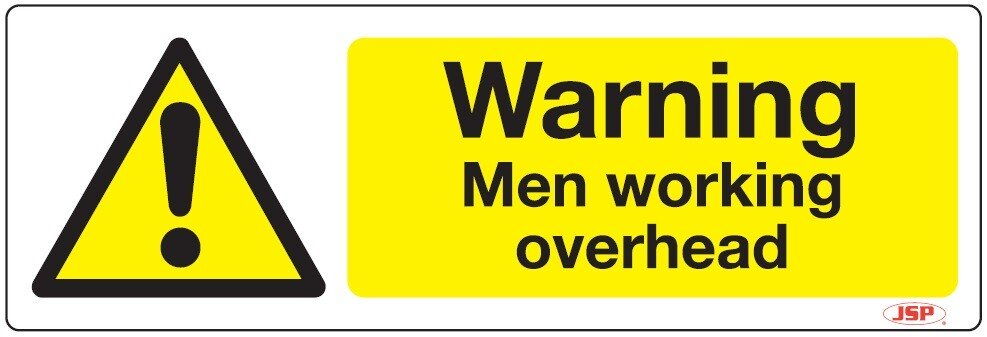 "JSP Rigid Plastic ""Danger Men Working Overhead"" Rigid Plastic Safety Sign 600x200mm"