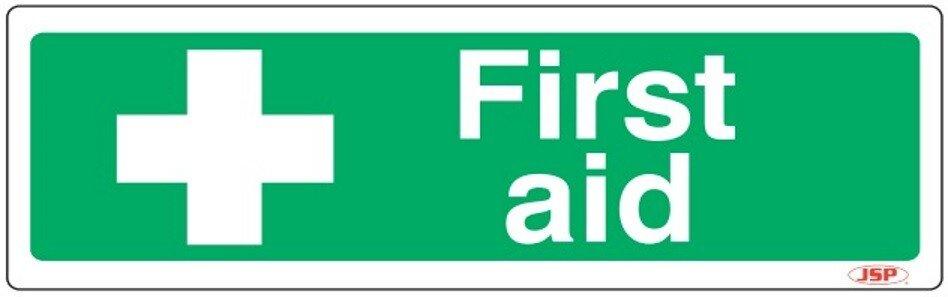"JSP HBJ161-000-000 Rigid Plastic ""First Aid"" Safety Sign 600x200mm"