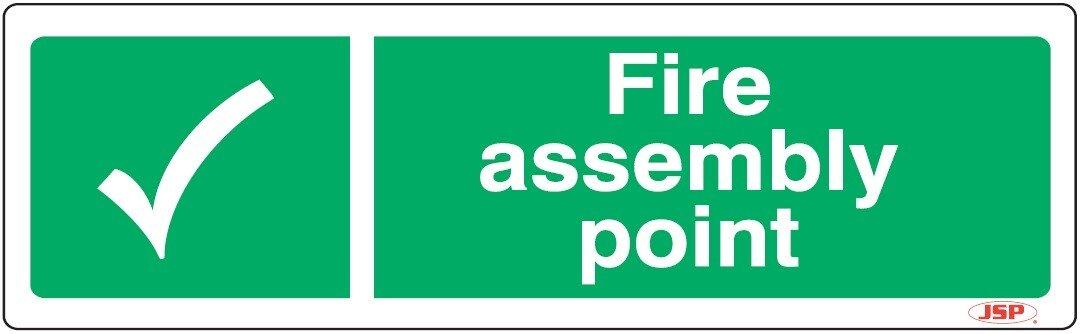 "JSP Rigid Plastic ""Fire Assembly Point"" Rigid Plastic Safety Sign 600x200mm"