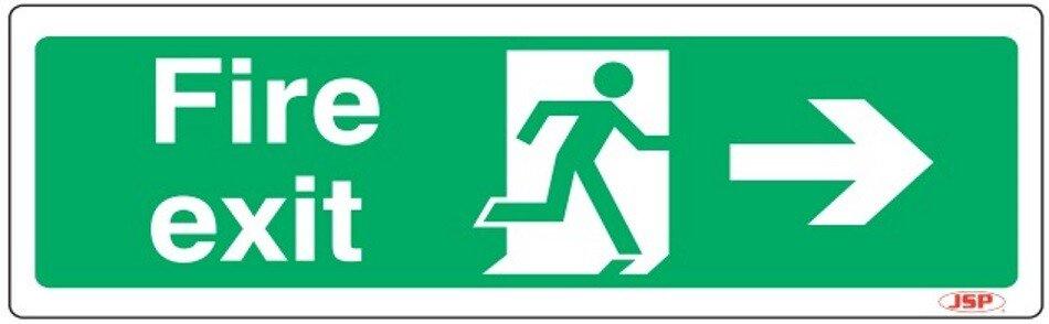 "JSP 104 Rigid Plastic ""Fire Exit"" Arrow Right +Running Man Safety Sign 600x200mm"