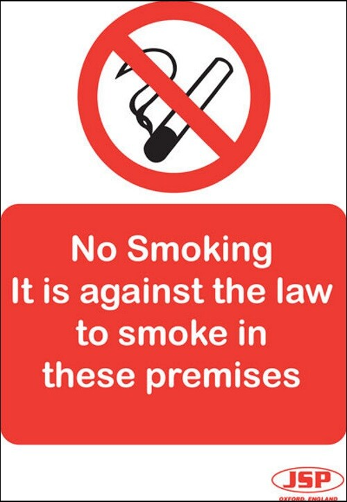 """JSP Rigid Plastic """"No Smoking -It is against the law"""" Safety Sign 210x149mm"""