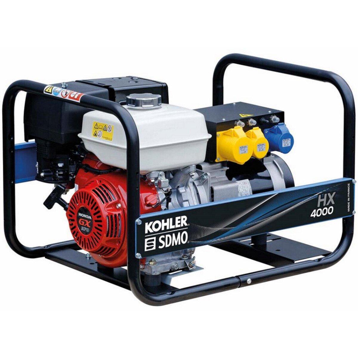 SDMO HX4000 (TB UK) 4.625kVA / 3.7kW Honda GX270 4 Stroke Petrol Industrial Generator