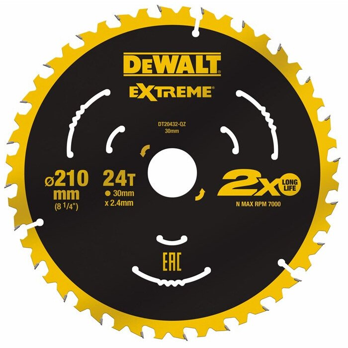 DeWalt DT20432-QZ Extreme 210 x 30mm 24T TCT Saw Blade For use on the DWE7485 DeWalt Compact Saw