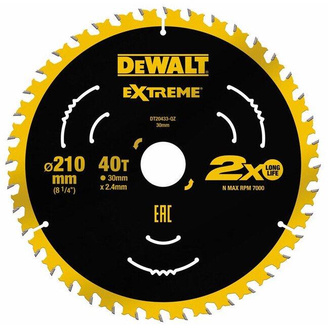 DeWalt DT20433-QZ Extreme 210 x 30mm 40T TCT Saw Blade For use on the DWE7485 DeWalt Compact Saw