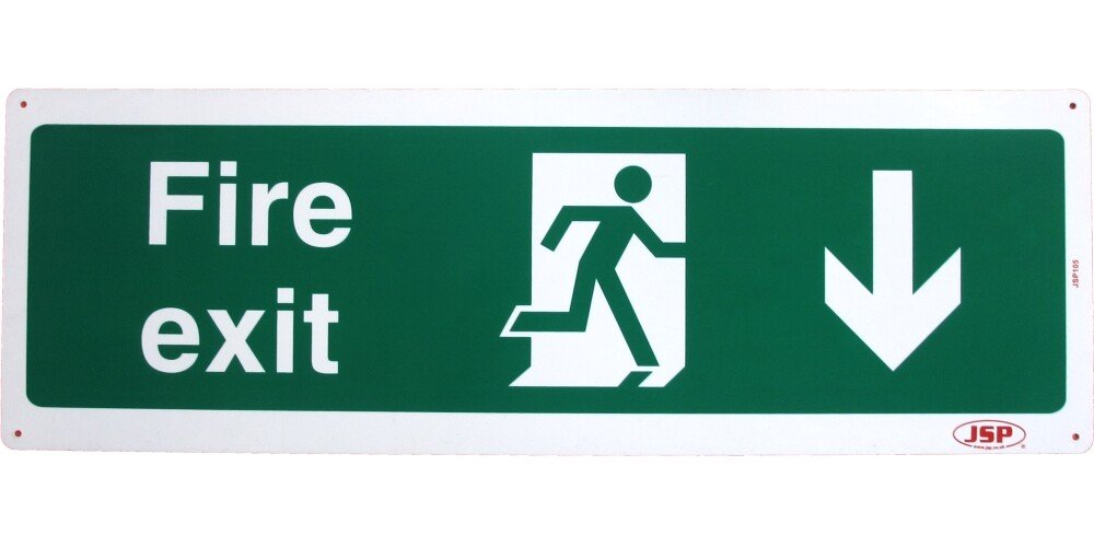 "JSP 105 Rigid Plastic ""Fire Exit"" Arrow Down +Running Man Safety Sign 600x200mm"