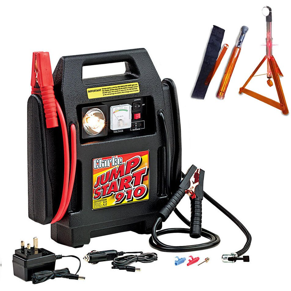 Clarke Jumpstart 910 12v Rechargeable Power Supply with Built-in Compressor +FREE Roadside Rescue Light