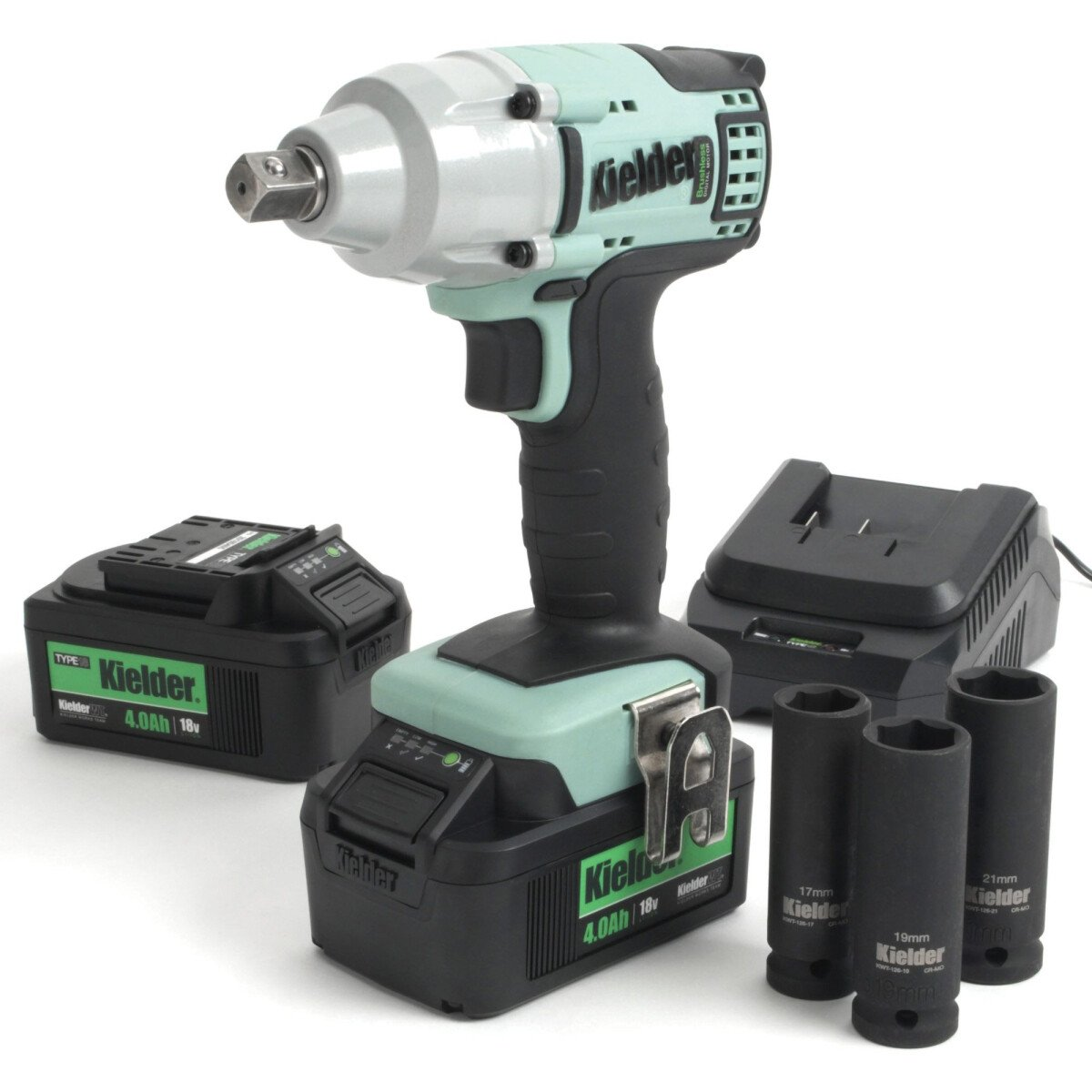 Kielder KWT-002-08 1/2in Impact Wrench Kit 430Nm 18V With 2 x 4.0Ah Li-ion Batteries in Stackable Carry Case