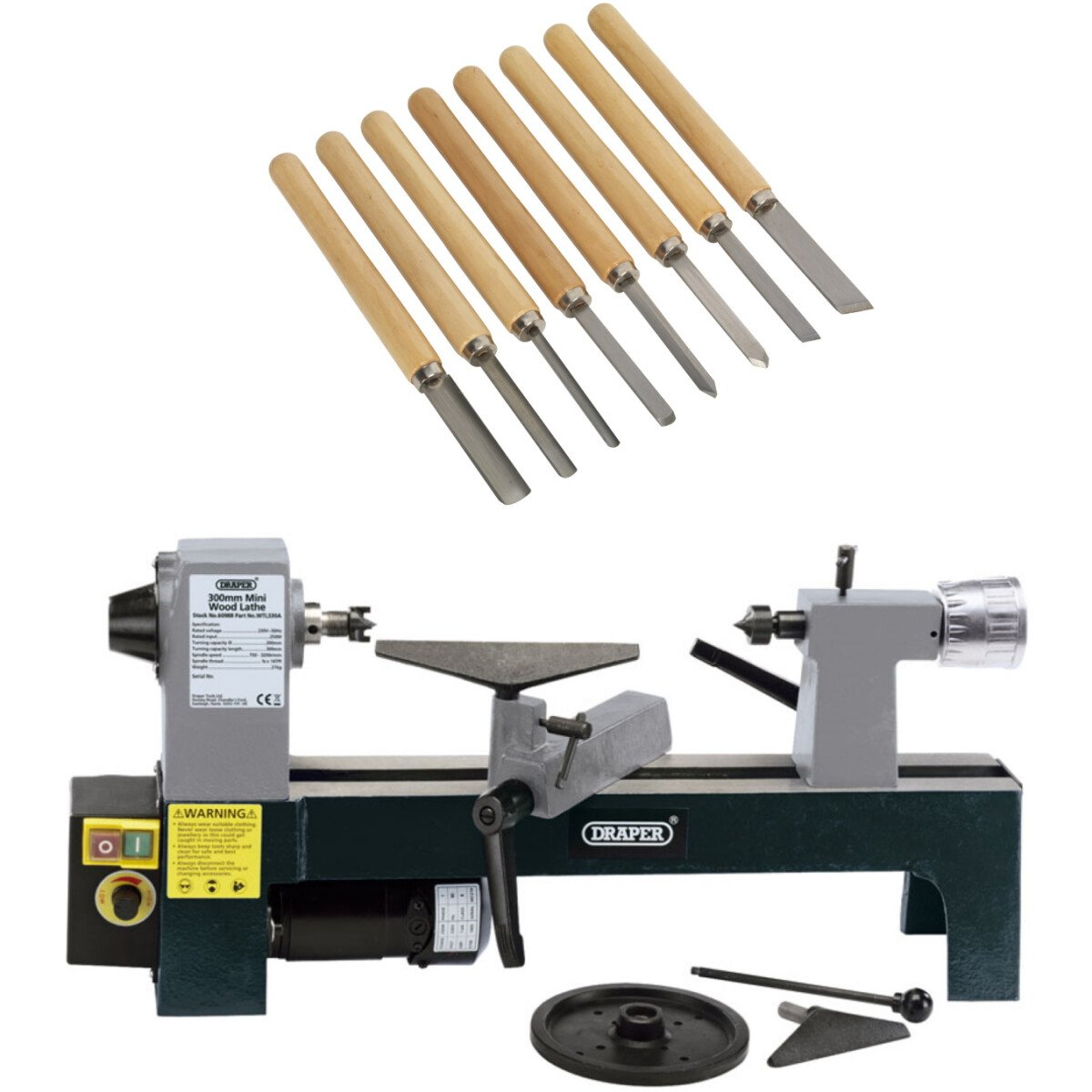 Draper 60988 WTL330A 250W 230V Variable Speed Mini Wood Lathe with 8 Piece Wood Turning Chisels