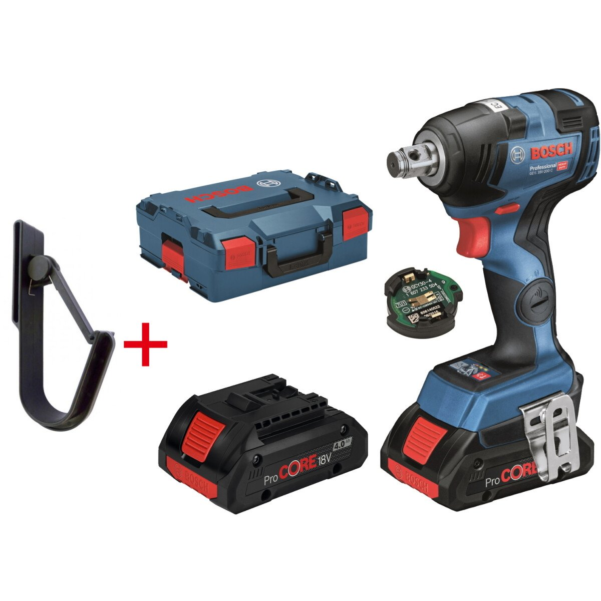 Bosch GDS 18 V-200 C + Gorilla Hook 18V Brushless Impact Wrench 2x4.0 Procore with Connectivity Module  in L-Boxx